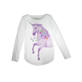 Girl's Unicorn Message Shirred Sideseam LS Tee - Unicorn Message/White - Size - XL