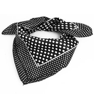 Unique Bargains Women Polyester Fashion Round Dot Square Scarf Wrap Black White