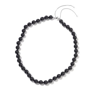 Sterling Silver Black Tourmaline Beaded Necklace Size 18 Inch Ct 350