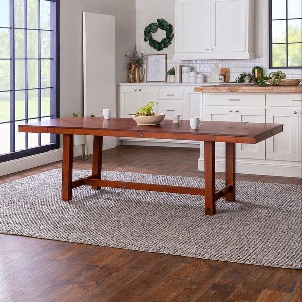 68-inch Rustic Dark Oak Wood Trestle Base Dining Table. Opens flyout.