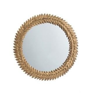 A&B Home Gold 17-inch Iron Leaf Wreath Mirror