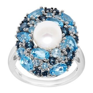 Freshwater Pearl & 3 3/4 ct Natural Blue Topaz Cocktail Ring in Sterling Silver