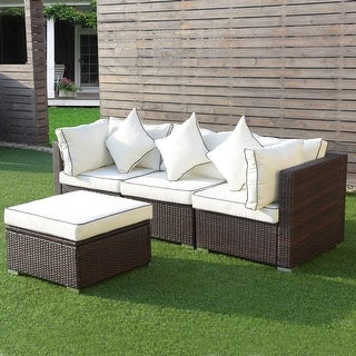Shop Costway 4pcs Wicker Rattan Sofa Furniture Set Patio Garden Lawn