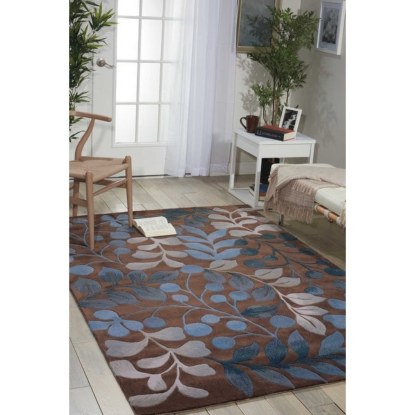 Nourison Hand-tufted Contours Oversized Leaf and Branch Area Rug. Opens flyout.