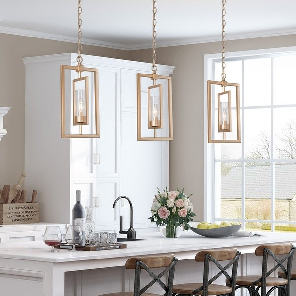 """Modern Gold 1-light Glass Shade Pendant Lights for Kitchen Island Dining/ Living Room - L8.5"""" x W5"""" x H16"""". Opens flyout."""