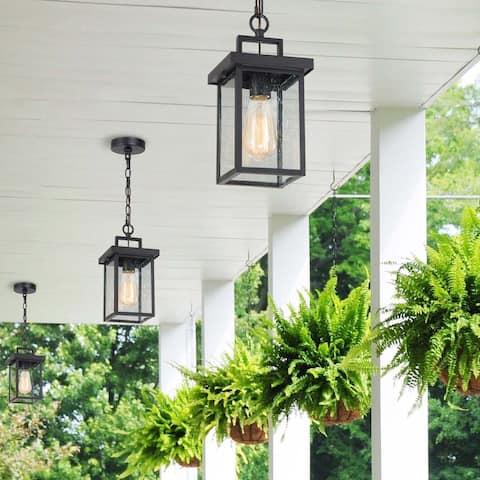 "Modern 1-light Square Sand Black Outdoor Pendant Lights Fixture - L 6""x W 6""x H 10.5"""