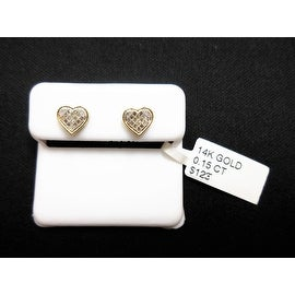 Solid 14K Yellow Gold Micro-Pave Heart Earrings Genuine Diamond