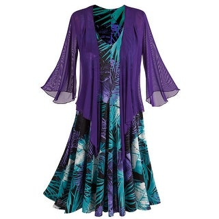 Women's Floral Dress & Bolero Shrug - Sleeveless V-Neck - Purple/Teal