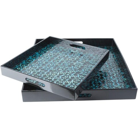 Set of 2 Shiny Black and Teal Decorative Wood Square Serving Tray Set 16 - Blue