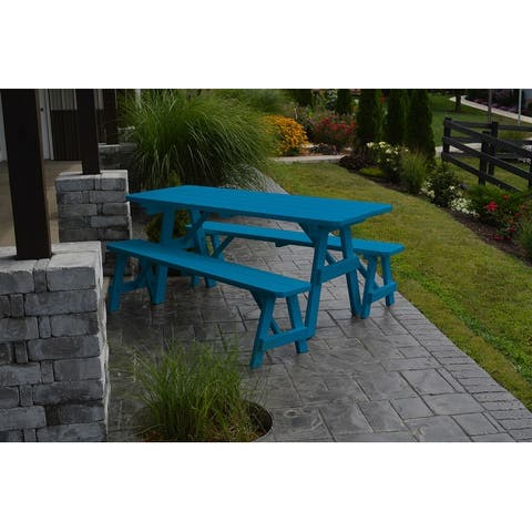 Pine 6' Traditional Picnic Table with 2 Benches