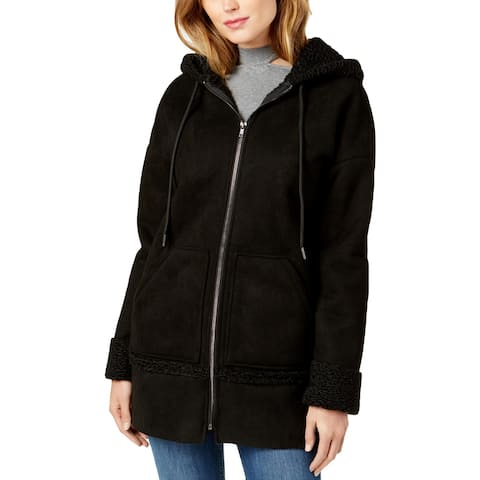 Guess Womens Yesmin Faux Fur Coat Winter Faux Shearling