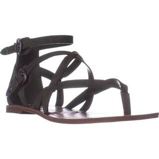 G Guess Hearn Flat Strappy Zip Sandals, Medium Green