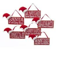 """Pack of 12 Assorted Wooden Sentiment Sign with Santa Claus Hat Christmas Ornaments 5"""" - RED"""