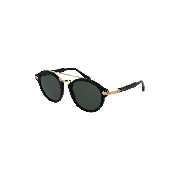 9ad0ad6ebd Shop Gucci Green Round Sunglasses Gg0090S 001 47 - Black - One Size - Free  Shipping Today - Overstock - 24266448