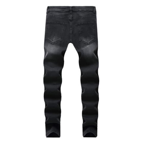 Men Jeans Ripped Slim Straight Fit Biker Jeans With Zipper Deco