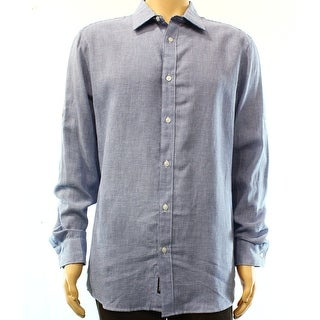 Michael Kors NEW Blue Men Large Tailored Button Down Houndstooth Shirt