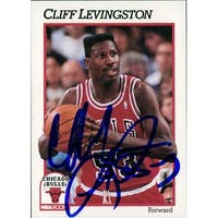 Signed Levingston Cliff Chicago Bulls 1991 NBA Hoops Basketball Card autographed