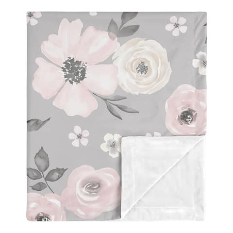 Grey Watercolor Floral Girl Baby Receiving Security Swaddle Blanket - Blush Pink Gray White Shabby Chic Rose Flower Farmhouse