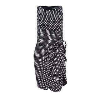Lauren Ralph Lauren Women's Talia Ruffled Crepe Dress - black/ cream - 16