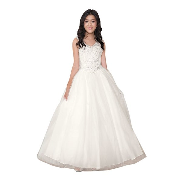 Calla collection little girls off white floor length flower girl calla collection little girls off white floor length flower girl dress mightylinksfo