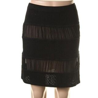 Catherine Malandrino Womens Silk Inset Pointelle Pencil Skirt - S