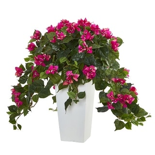 Nearly Natural Bougainvillea Artificial Plant in White Tower Planter