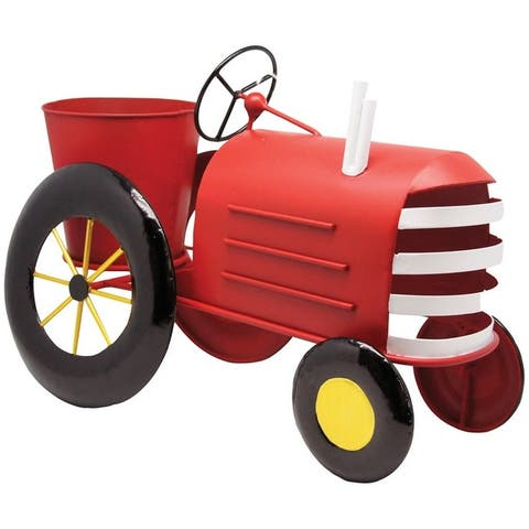 Alpine LYT272RD Metal Tractor Planter, Red