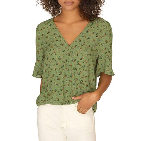 Sanctuary Womens Garden Party Wrap Top Floral Flare Sleeve - Go Green