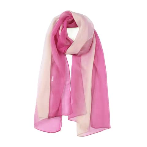 Long Chiffon Lightweight Gradient Color Scarf For Pale Pink/Fuchsia - Pale Pink Fuchsia