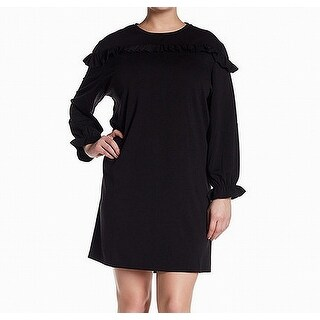 Ceny Solid Black Womens Size 3X Plus Ruffle Trim Sweater Dress