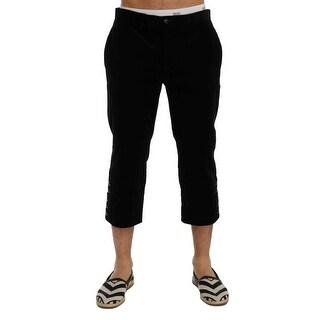Dolce & Gabbana Dolce & Gabbana Black Cotton Corduroy Capri Pants - it48-m