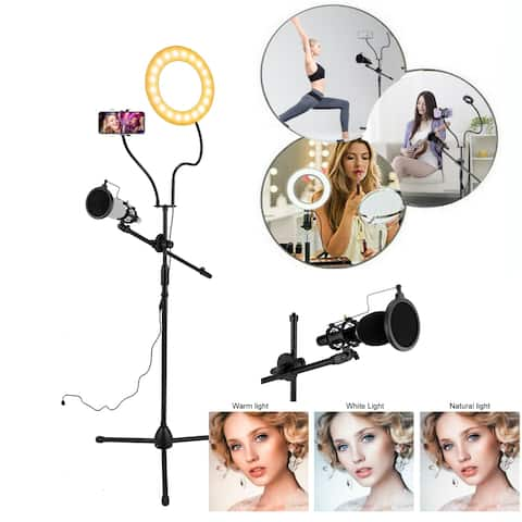 "3.5"" Selfie Ring Light with Tripod Stand & Cell Phone Holder & Mic stand & Pop Filter for Live Stream"