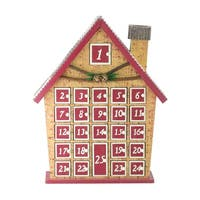 "15"" Rustic Burgundy and Brown House with Chimney Advent Calendar Decoration"
