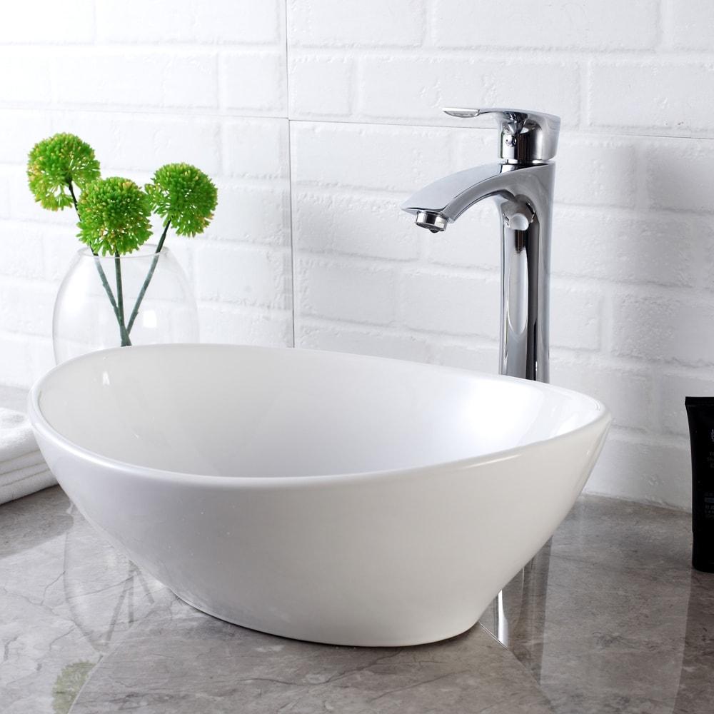 Bathroom vessel sink above counter ceramic wash basin Egg Shape Copper Color
