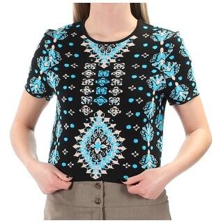 Womens Black Blue Tribal Short Sleeve Jewel Neck Top Size 4