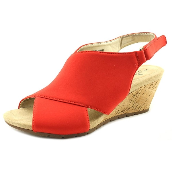 Bandolino Gennesse Women Open Toe Canvas Red Wedge Sandal