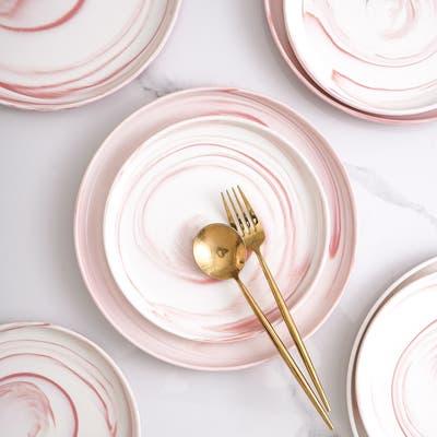 Stone Lain Brighton Round Body Marble Porcelain Dinnerware Set