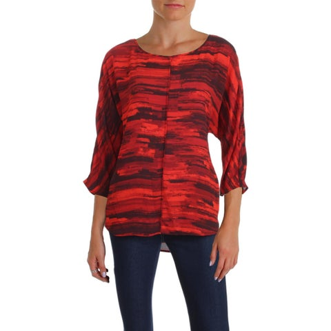 Vince Camuto Womens Blouse Printed Dolman Sleeves