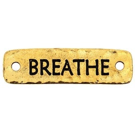TierraCast Pewter, Connector Link with Breathe Text 40x11.5mm, 1 Piece, 22K Gold Plated