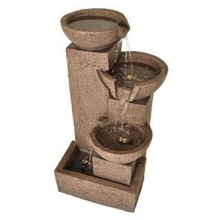 "Zenvida Tiered Bowl Cascading Waterfall Outdoor Garden Fountain 35"" Sandstone Finish"