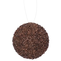 "4ct Chocolate Brown Sequin and Glitter Drenched Christmas Ball Ornaments 4"" (100mm)"