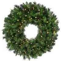 "- Pre-Lit New Zealand Pine Wreath 30"" 240 Tips; 100 Lights"