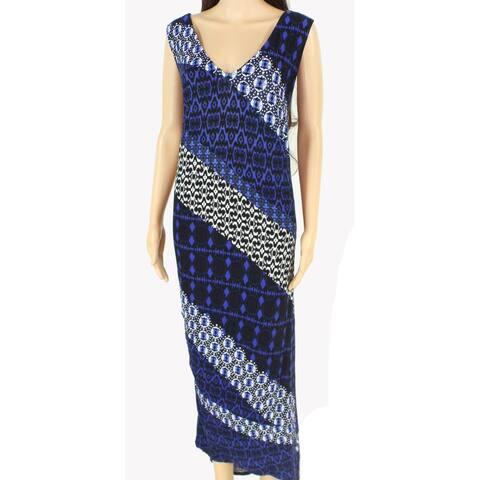 INC Women's Dress Blue Size 1X Plus Maxi Stripe Colorblock V-Neck