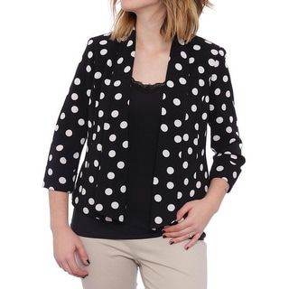 Kasper Shawl-Collar Polka-Dot-Print Open Jacket Basic Jacket