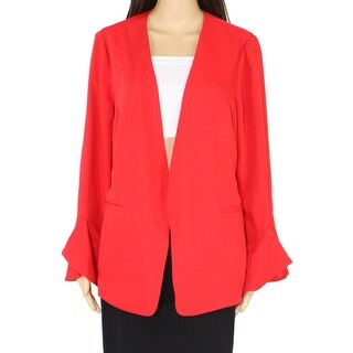 Alfani Womens Jacket Chinese Red Size Large L Flounce Sleeve Open Front
