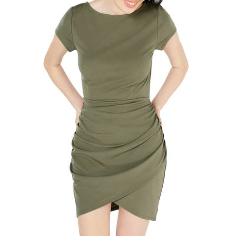 Planet Gold Sheath Dress Green Size Medium M Junior Gathered Boat-Neck