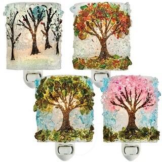 Reborn Glass Four Seasons Night Light: Set of 4 - Spring, Summer, Autumn, Winter Hand Made Fused Glass Art Glass - MultiColor