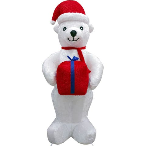 Fraser Hill Farm 8-Ft. Tall Inflatable Plush Polar Bear Holding a Gift