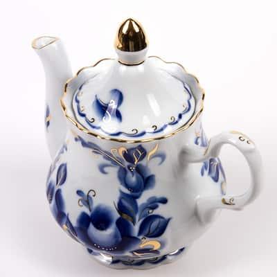 STP Goods Tatiana Gold Rim 27-Oz Blue and White Porcelain Teapot