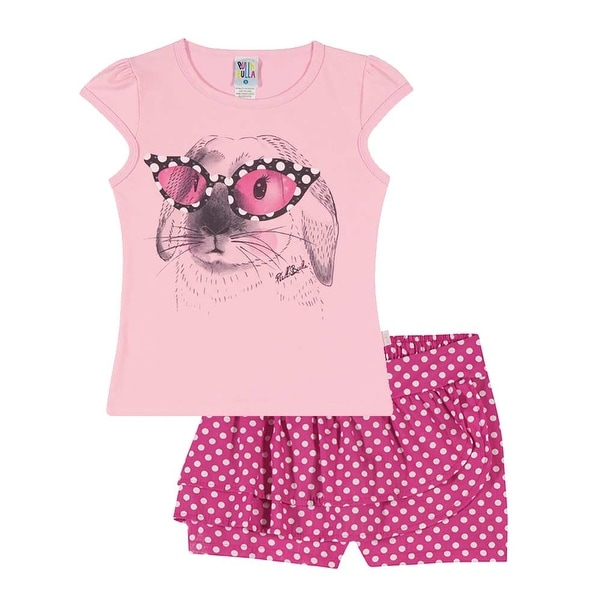 Girls Outfit Graphic Tee Shirt and Shorts Kids Set Pulla Bulla Sizes 2-10 Years